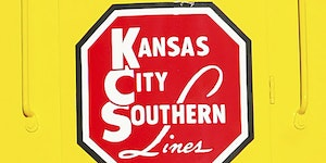 FILE - In this Nov. 5, 2004 file photo, the logo of Kansas City Southern is down on a restored 1954 Kansas City Southern passenger locomotive at Union