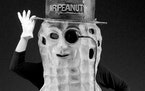This Mr. Peanut figure is dressed in a composition or fiberglass body with an attached top hat, monocle and the other parts of his wardrobe. It sold f
