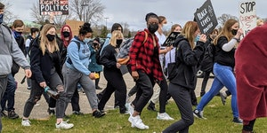 Students at Becker High School walkout to protest incidents of discrimination Monday, April 19, 2021.