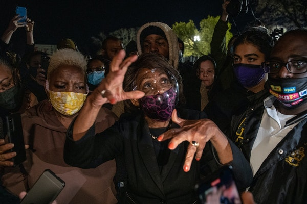 U.S. Rep. Maxine Waters, D-Calif., on April 17 while visiting demonstrators protesting the killing of Daunte Wright, an unarmed Black man killed by a