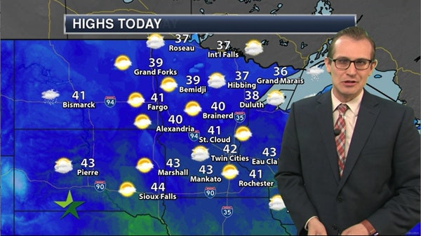Afternoon forecast: 42, more clouds than sun, chance of flurries