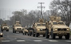 National Guard vehicles on the streets of Brooklyn Center, Minnesota.  A rally was held in response to the death of Daunte Wright, Tuesday, April 13,