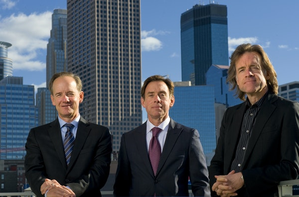 GLEN STUBBE • gstubbe@startribune.com Twins owners Jim, Bob and Bill Pohlad at Target Field in 2010.