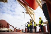 Deb DeLuca, executive director of the Duluth Seaway Port Authority, addressed members of the press during the event on Tuesday. The Federal Biscay was