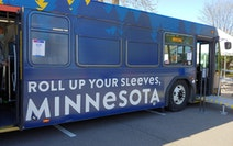 A COVID-19 Community Mobile Vaccination Bus visited Hallie Q. Brown Community Center in St. Paul on Tuesday.