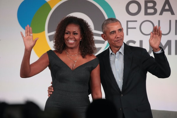 Former U.S. President Barack Obama and his wife, Michelle.