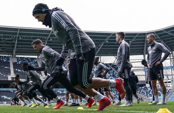 Minnesota United players took part in a drill during practice Tuesday at Allianz Field. Photo courtesy MNUFC