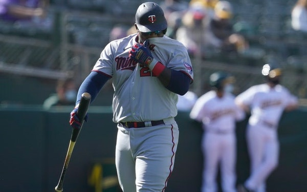Miguel Sano walked to the dugout after striking out in the fourth inning of Game 1 on Tuesday.