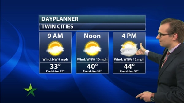 Morning forecast: Partly sunny, cold, high 45