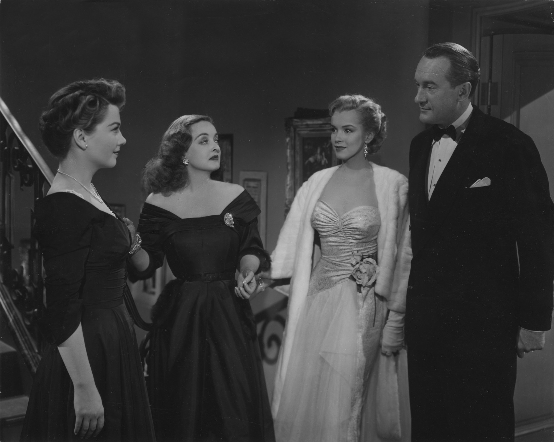 Anne Baxter, Bette Davis, Marilyn Monroe and George Sanders in 'All About Eve.'