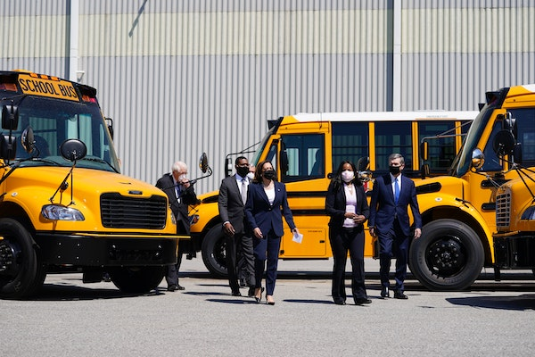 Vice President Kamala Harris tours Thomas Built Buses, Monday, April 19, 2021, in High Point, N.C.