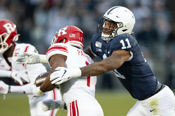 Penn State linebacker Micah Parsons, right, sat out the 2020 season, but is still expected to be a first-round draft pick.