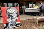 Funeral directors carried the casket of Duante Wright in Temple International Ministries for a public viewing Wednesday April 21, 2021 in Minneapolis,