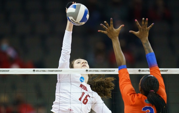 Dana Rettke, a rarity as a four-time All-America selection, leads the attack for top-seeded Wisconsin at the NCAA tournament.