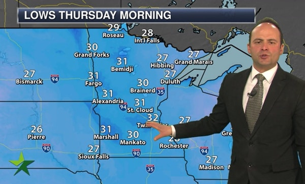 Evening forecast: Low of 33 and mainly clear