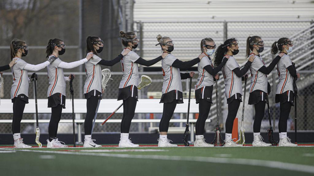 Lakeville North players stood before their game against Rosemount on April 20.