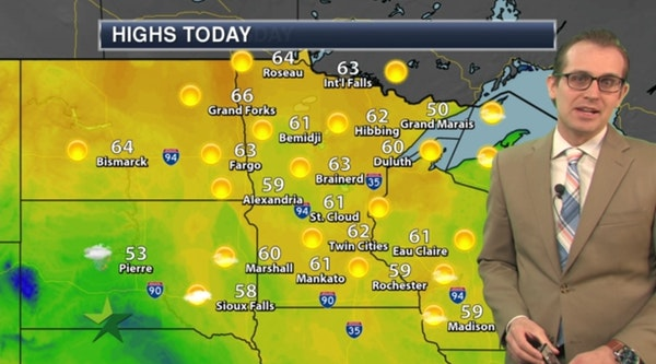 Morning forecast: Sunny, warmer, high 62