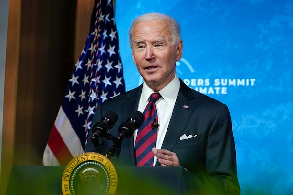 President Joe Biden speaks to the virtual Leaders Summit on Climate, from the East Room of the White House, Thursday, April 22, 2021, in Washington.
