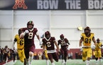 The Gopher spring football game held inside the Athletes Village on April 13, 2019