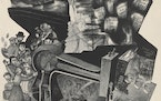 """Ida Abelman's lithograph """"My Father Reminisces,"""" 1937, commissioned through the New Deal."""