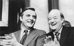 "Walter Mondale and Hubert Humphrey in ""Fritz: The Walter Mondale Story."""