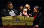 Katie and Aubrey Wright, parents of Daunte Wright, during the funeral at Shiloh Temple International Ministries in Minneapolis.