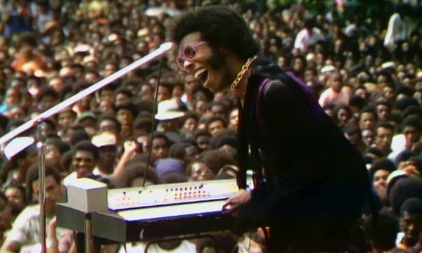 "Sly Stone performing in 1969 during the Harlem Culture Festival, a series recaptured in the new documentary ""Summer of Soul."""