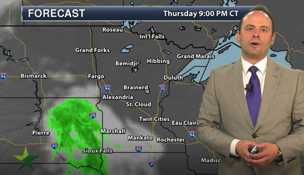 Evening forecast: Low of 43, with clouds and occasional rain possible late