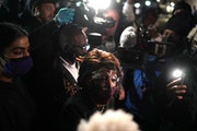 U.S. Rep. Maxine Waters briefly showed up to a protest outside the Brooklyn Center Police Department in response to the death of 20-year-old Daunte Wr
