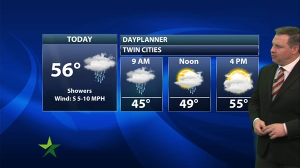 Morning forecast: Showers, high 56