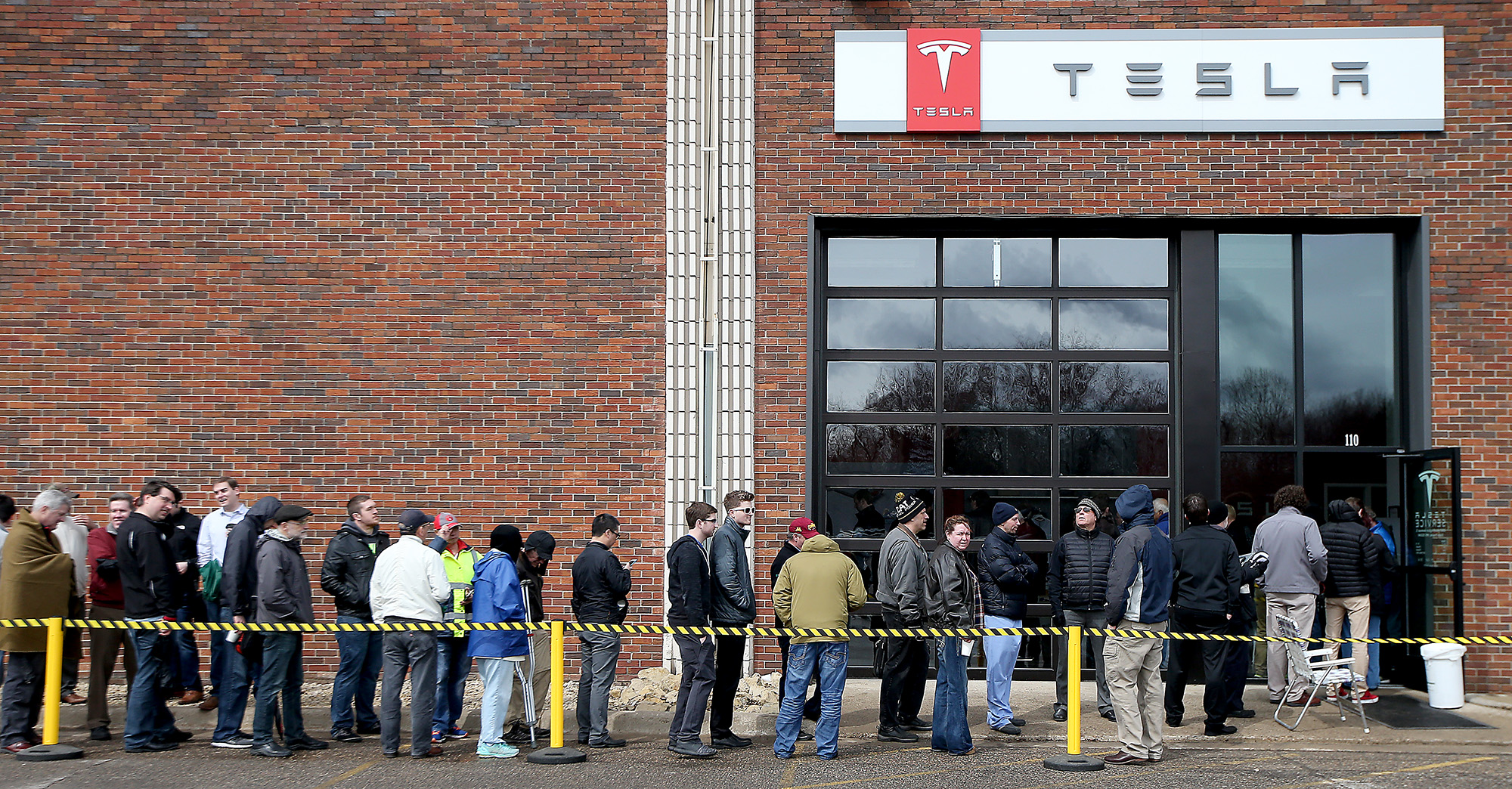 People lined up outside Tesla in Eden Prairie in 2016 to get on a waiting list for the new Model 3 electric car.