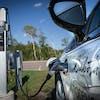 The electric car charging stations at Lebanon Hills Regional Park in Eagan, Minn.