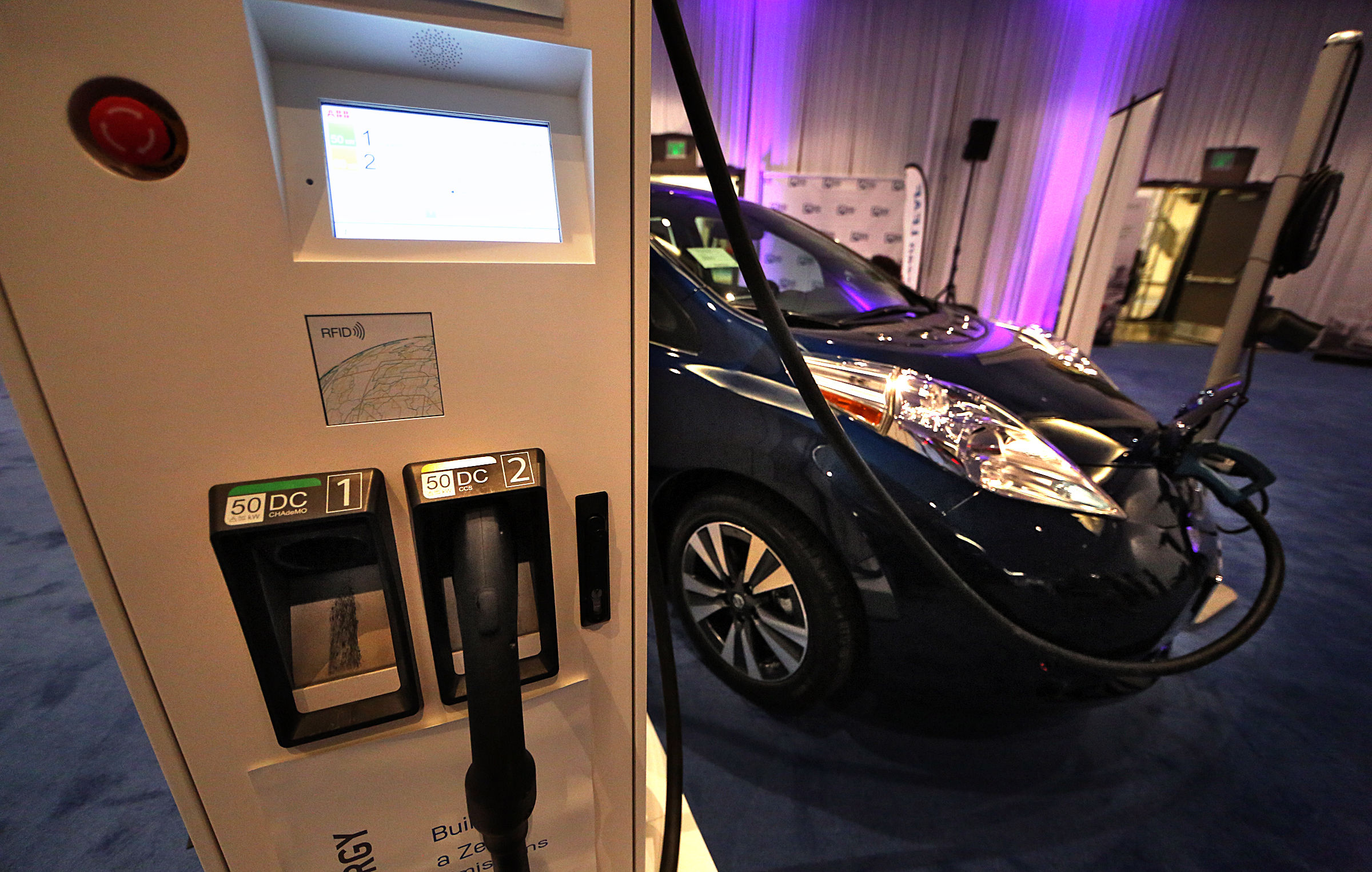 The Nissan LEAF was among the electric automobiles on display in the Electric Room at the Twin Cities Auto Show in 2016.