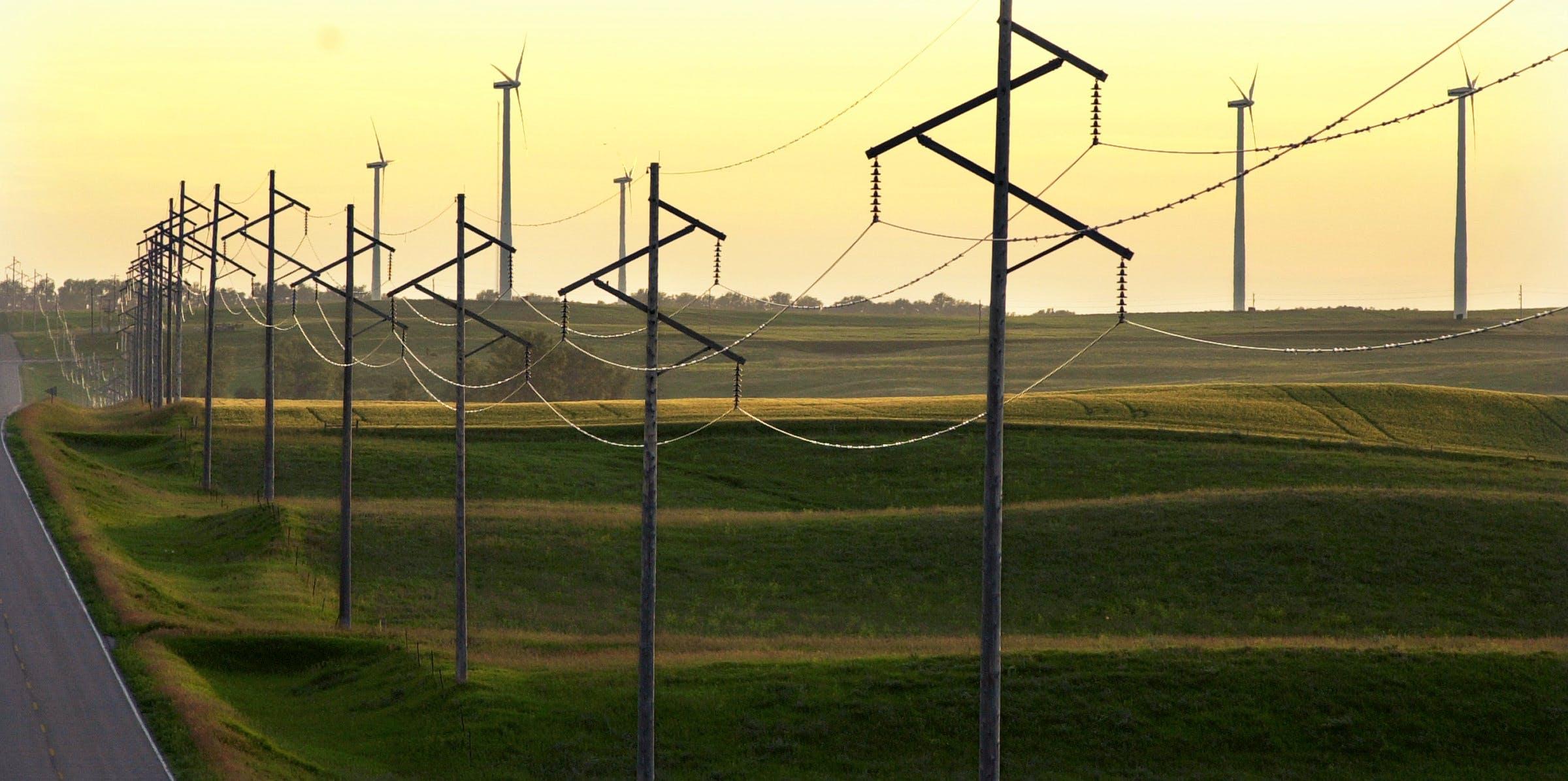 Power lines in southwestern Minnesota.