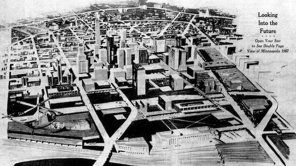 An artist's conception of 1967 Minneapolis, post-urban renewal.