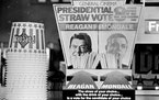Moviegoers in October 1984 could pick a Ronald Reagan or Walter Mondale straw at a General Cinema movie theater.