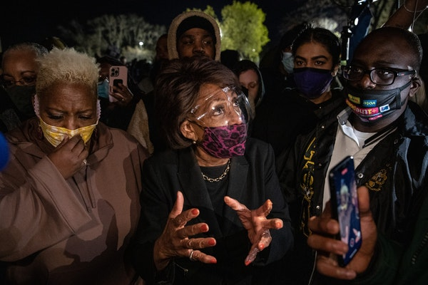 U.S. Rep. Maxine Waters, D-Calif., visited demonstrators in Brooklyn Center on April 17 following the killing of Daunte Wright by a police officer day