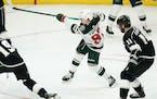 Minnesota Wild's Kirill Kaprizov shoots to score his second goal Friday vs. the Kings.