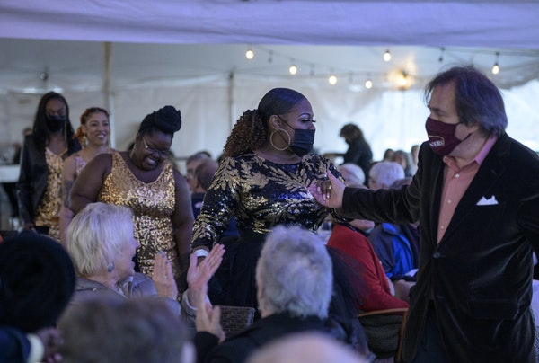Jamecia Bennett was led to the stage in the Belvedere tent before performing Friday night at Crooners Supper Club.