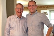 Walter Mondale and state Rep. Bjorn Olson, R-Elmore, are pictured in 2013 in Mondale's childhood home, where Olson now lives.