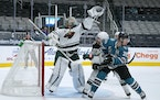 Kaapo Kahkonen made 27 saves Saturday in the Wild's playoff-clincing win over the Sharks.
