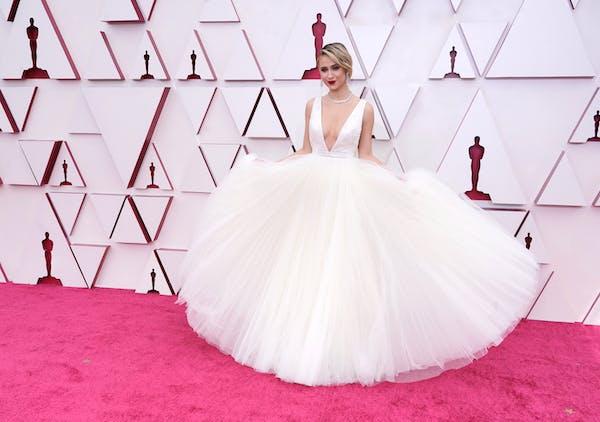 Maria Bakalova arrives at the Oscars on Sunday, April 25, 2021, at Union Station in Los Angeles.