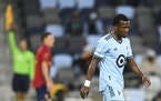 Loons midfielder Justin McMaster he walked down the field after an offside call Saturday. ] AARON LAVINSKY • aaron.lavinsky@startribune.com  Minneso