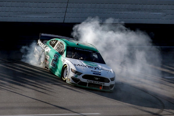 Brad Keselowski celebrated with a burnout after winning the Geico 500 NASCAR race at Talladega Superspeedway on Sunday.