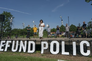 Nine Minneapolis City Council members declared their intent to defund the Police Department at a meeting in Powderhorn Park on June 7, 2020.