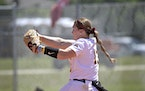 The Gophers' Amber Fiser, shown pitching against Rutgers in March, is one of 10 national finalists for the 2021 Senior CLASS award in softball.