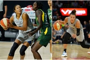 Lynx players Napheesa Collier (left) and Kayla McBride (right, who played for the Las Vegas Aces last season) might not be available for the May 14 re