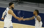 Since D'Angelo Russell (right) returned to the lineup under coach Chris Finch, the Wolves are 6-4 when both he and Karl-Anthony Towns play together