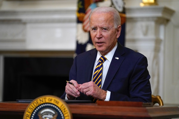 FILE - In this Feb. 24, 2021, file photo, President Joe Biden pauses after signing an executive order relating to U.S. supply chains, in the State Din