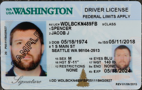 A sample copy of a Washington driver's license.